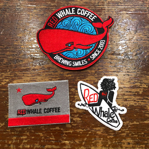 Red Whale Embroidered Patches