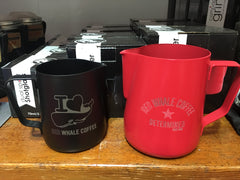 Rhino Coffee Gear Stealth Milk Pitcher with Red Whale Coffee logo etching