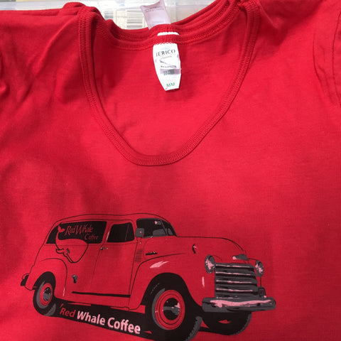 Red Whale Coffee TRUCK Women's 3/4 Sleeve Tee Red