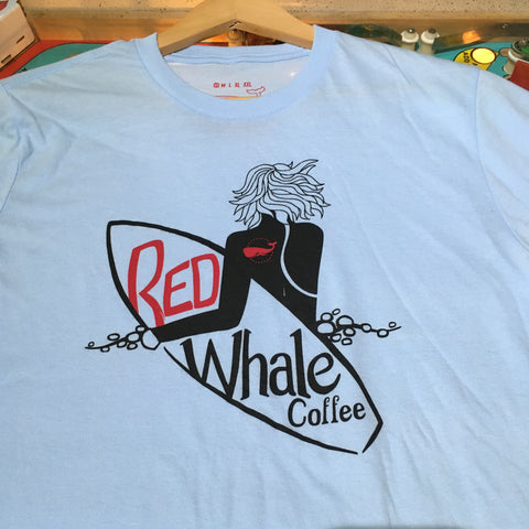 Red Whale Coffee SURFER Short Sleeve Tee Ice Blue