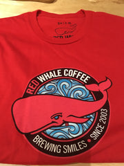 Red Whale Coffee BREWING SMILES Short Sleeve Tee Red