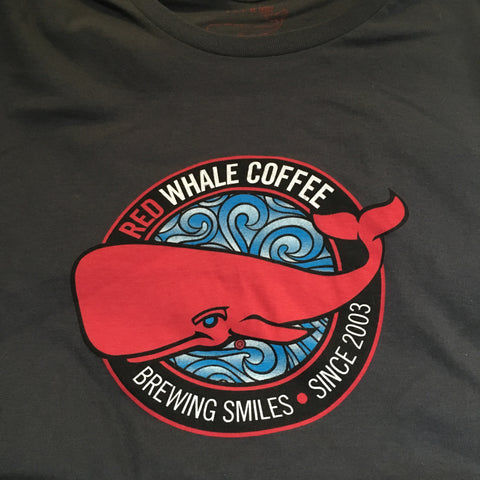 Red Whale Coffee BREWING SMILES Short Sleeve Tee Charcoal