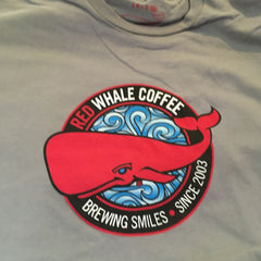 Red Whale Coffee BREWING SMILES Short Sleeve Tee Grey