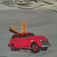 Red Whale Coffee TRUCK W/BRIDGE Short Sleeve Tee Grey