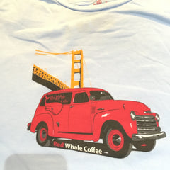 Red Whale Coffee TRUCK W/BRIDGE Short Sleeve Tee Ice Blue