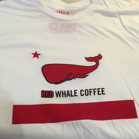 Red Whale Coffee FLAG Short Sleeve Tee White