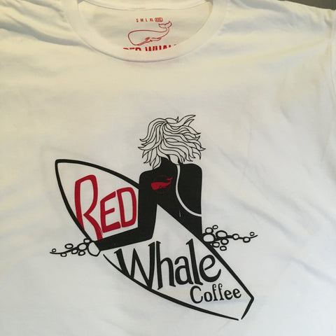 Red Whale Coffee SURFER Short Sleeve Tee White