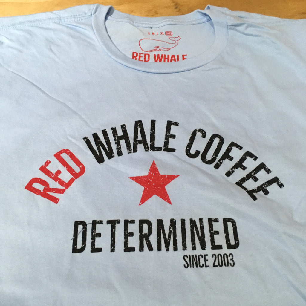 Red Whale Coffee DETERMINED Short Sleeve Tee Ice Blue