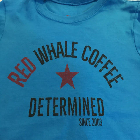 Red Whale Coffee DETERMINED Kids Short Sleeve Tee Blue
