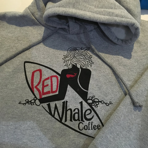 Red Whale Coffee SURFER Hooded Sweatshirt Grey