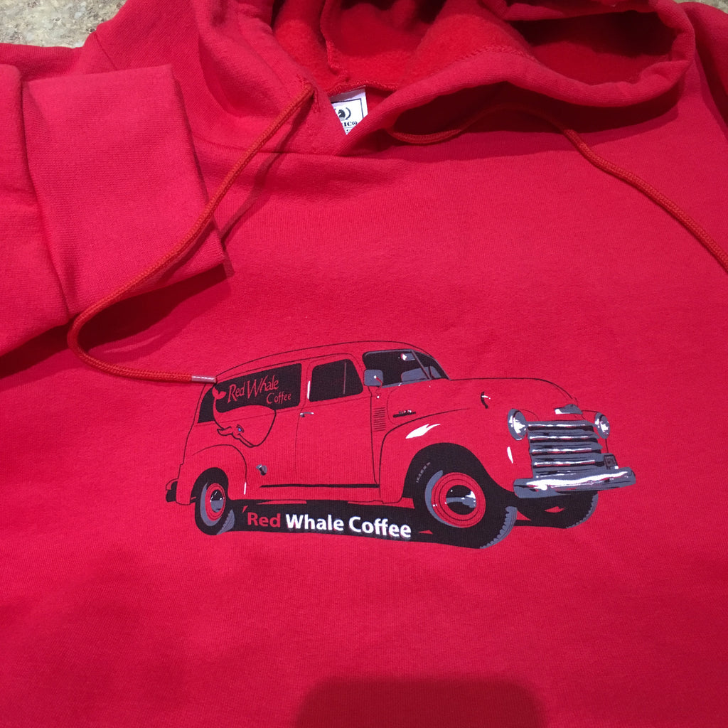 Red Whale Coffee TRUCK Hooded Sweatshirt Red