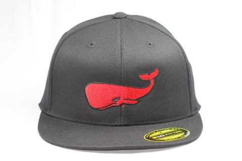 Red Whale Hat, Black-210 Fitted Flex Fit, Flat Bill