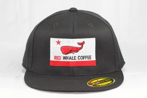 Red Whale Coffee Flag Hat, Black-210 Fitted Flex Fit, Flat Bill