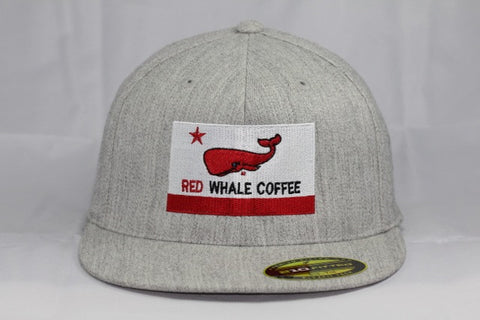 Red Whale Coffee Flag Hat, Heather Grey-210 Fitted Flex Fit, Flat Bill