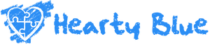 Hearty Blue - HeartyBlue.com logo. Contains a blue chalk background with puzzle pieces outlined in white chalk and masked by a white chalk outline of a heart. To the right of the heart is blue chalk text that reads 'Hearty Blue'