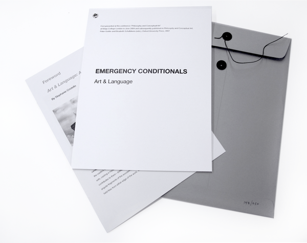 Art & Language: Emergency Conditionals - Artist's Book at Kavi Gupta Editions