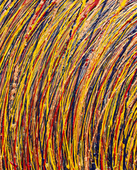 Modern Art- Strand in Yellow.  All of LJ Reitman's abstract paintings encourage the viewer to stop and study what is being presented.  All paintings for sale are signed and sealed with a protective coating. In this piece, thin lines of yellow, red, blue and gold work together to create a flow throughout.