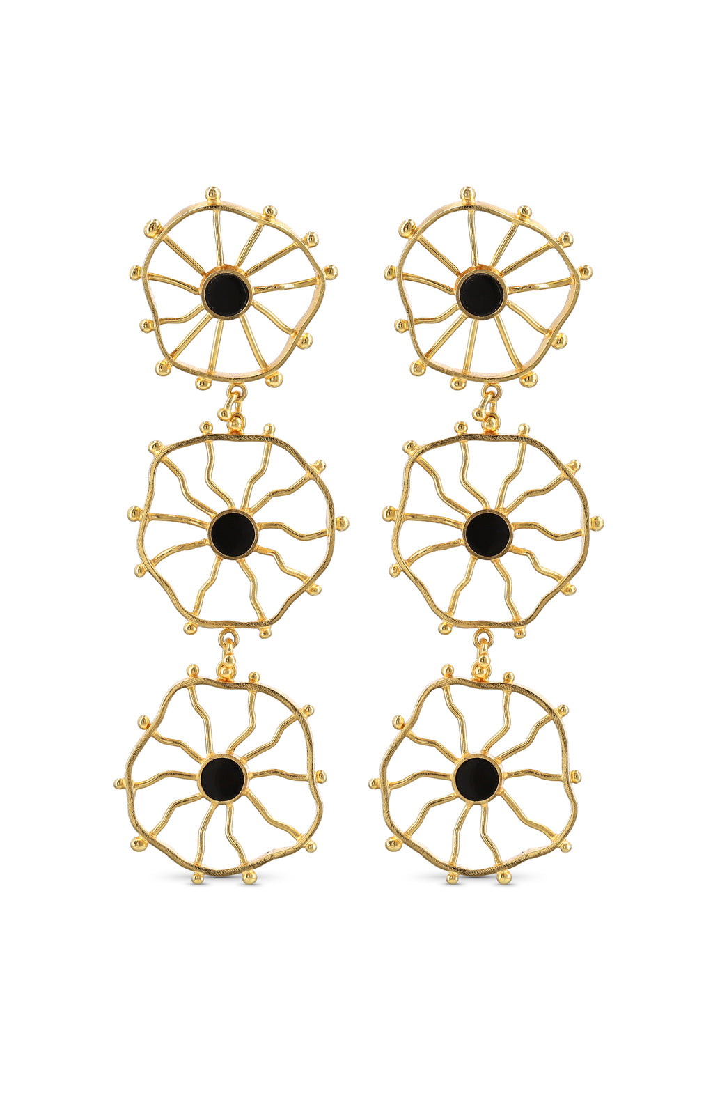 TRIPLE ZAPAC ONYX EARRINGS