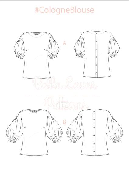 COLOGNE BLOUSE – PDF SEWING PATTERN - Bella loves patterns