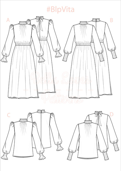 VITA DRESS & BLOUSE - PDF SEWING PATTERN - Bella loves patterns