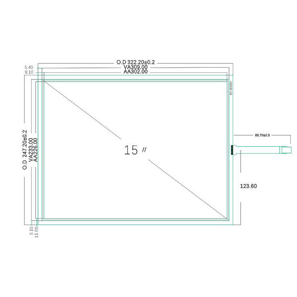 "Free Shipping!!!New 15"" 322MM*247MM 4 Wire Resistive 4:3 Touch Screen Panel Digitizer Film to Glass"