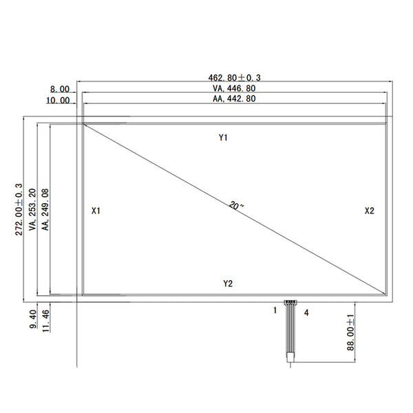 "Free Shipping!!!New 20"" 462MM*271MM 4 Wire 16:9 Resistive Touch Screen Panel Digitizer 0.5 Film to Glass+Controller"