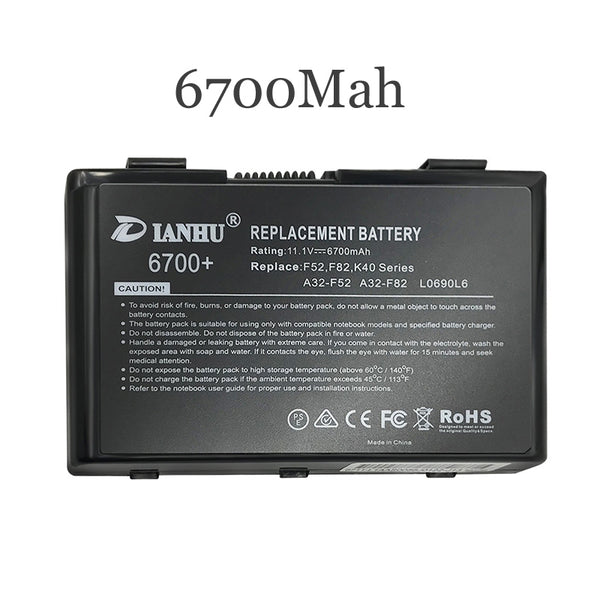 New Replacement Laptop Battery Internal For Asus A32-F82 K40AB A41i K40IJ K40IN K40AF K40A X5D/C X5DI K50IE K501 X8AC K60 K50