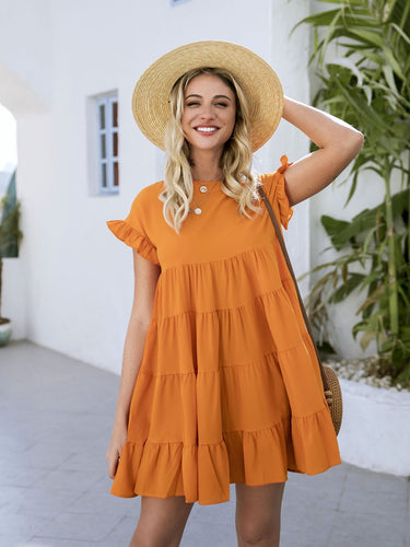 Orange Paneled Crew Neck Casual Dresses