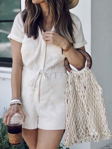 Short Sleeve Cotton Shift V Neck One-Pieces