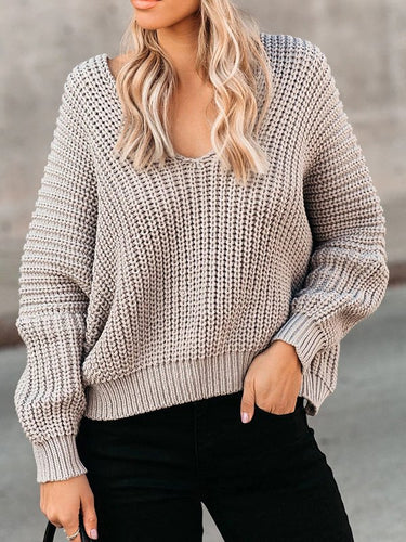 Knitted Long Sleeve V Neck Cotton Sweater
