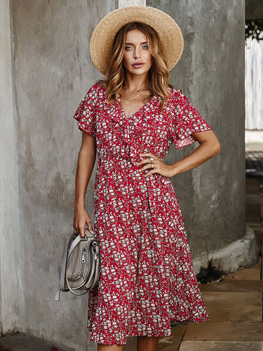 Holiday Short Sleeve Floral Dresses