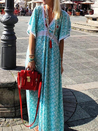 Blue Boho Printed V Neck Dresses