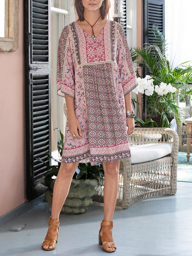 Boho Half Sleeve Cotton-Blend Dresses