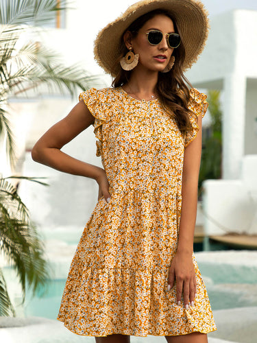 Yellow Shift Casual Paneled Frill Sleeve Dresses