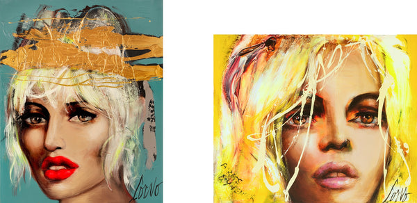 """Azur"", 60'' x 48'' and ""Face On Flluo Yellow"" 60'' x 72'',"