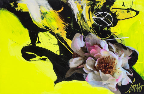 """Flowers On Black And Yellow"", 60 x 72 po, Corno"