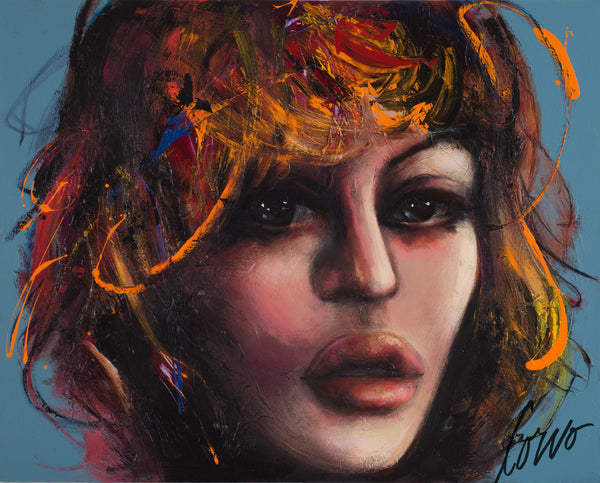"""Girl On Blue"", Corno, 60"" x 72"""