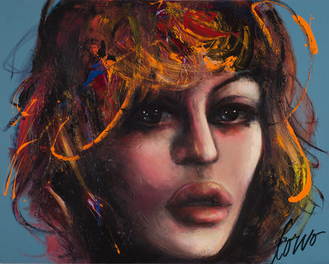 """Girl On Blue"", 48x60po, Corno"