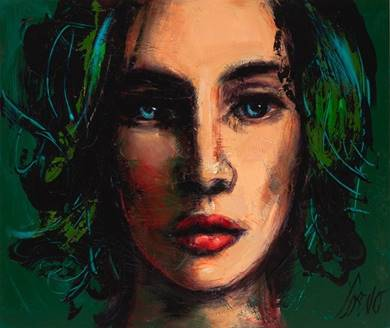 ''WOMAN ON FOREST GREEN'' (UNFRAMED)