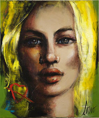 "Crystal-Plexiglass Print ""Face on Green with Red Heart"""