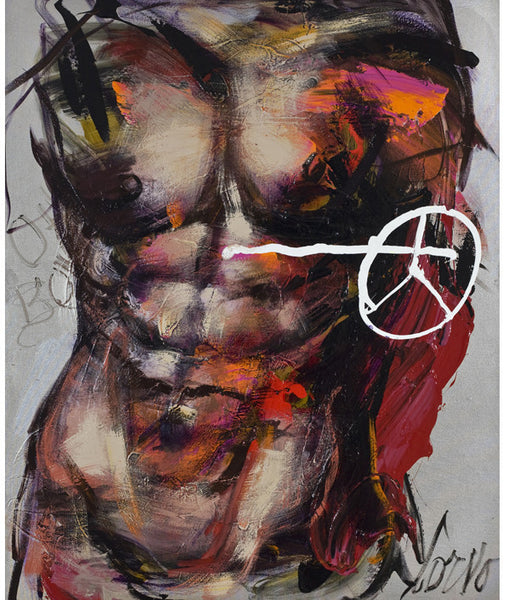 Corno Crystal-Plexiglass Print Male Torso on Silver