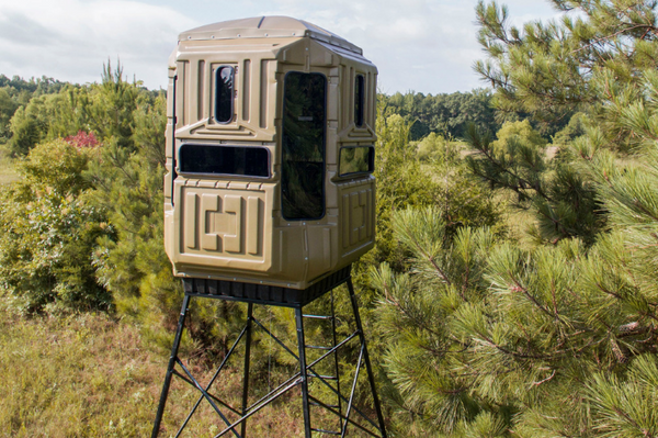 Elevated Hunting Blinds Dual Threat Combo With 10' Galvanized QP Kit Advantage Hunting Game Keeper