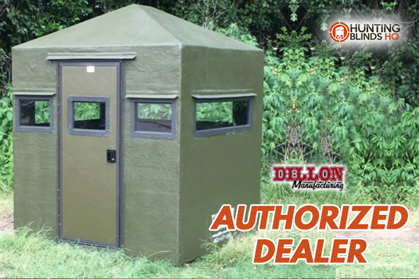 Fiberglass Deer Blind Camouflage Classic 4X6 with Door on 6' Side Dillon Manufacturing