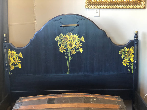 Antique Double Bed in Navy Blue