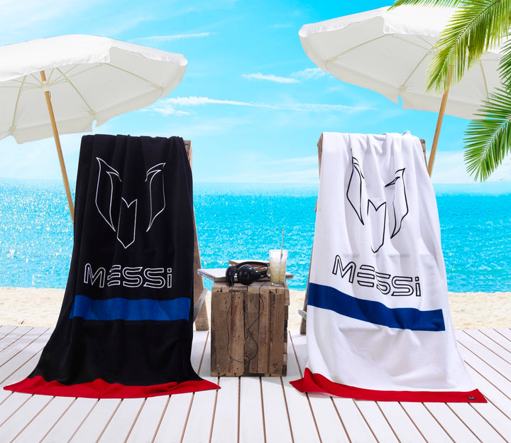 Messi Logo Bar White & Black Beach Towel