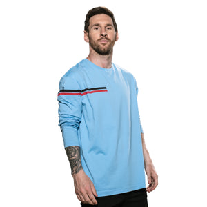 Camiseta Messi Dual Stripe Manga Larga Cuello Redondo - Azul Messi