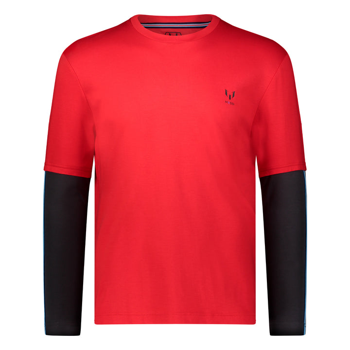 Cut & Sew Long Sleeve Crew - Red & Black
