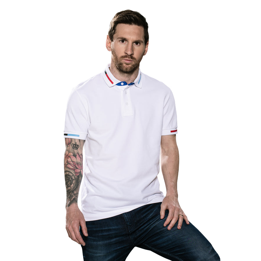 Messi Short Sleeve El-Clasico Polo Shirt Logo On Chest - White