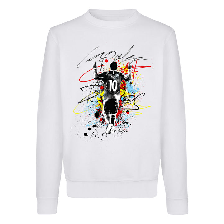 Messi La Pulga Paint Splash Crewneck Sweatshirt