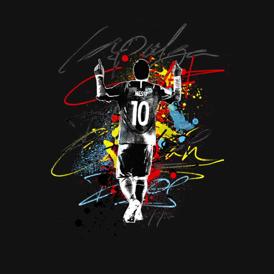 Messi La Pulga Paint Splash Graphic T-Shirt